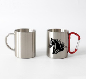 Wholesale customized coffee mugs for sale - Group buy 10oz Thermal transfer Coffee Mug with Carabiner Handle Customize Stainless Steel Sublimation Mug Portable Travel Cup Sea Shipping WWA138