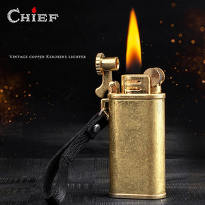 Wholesale vintage lighters resale online - Vintage Copper Chief Kerosene Oil Lighter Windproof Portable Metal Grinding Wheel Trench Cigarette Lighter Outdoor Tool Fashioned Men Gift