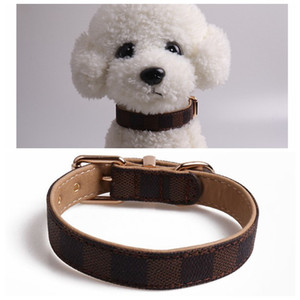 Dog Collars Leashes Classic Pattern PU Leather Fashion Adjustable Pet Dogs Cats Leashes Cute Pet Collar 1pcs cny1839