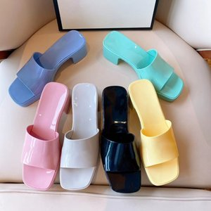 Wholesale sexy women shower for sale - Group buy Women high heels sandals slippers slides Rubber Slide Slipper platform chunky heel Retro Sexy Sandal Candy Colors with logo box