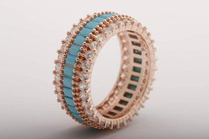 Wholesale blue zircon rings for sale - Group buy Handmade Turquoise Baguette Band Ring Blue Gemstone Jewelry White Zircon Rose Gold Sterling Silver Jewellery All Sizes