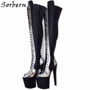 Wholesale custom high boots resale online - Thigh High Long Boots Women Open Toe Lace Up Custom Wide Fit Extreme High Heel Cm Platform Shoes Over The Knee Boots Brown Ankle Boo Av