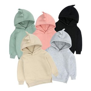 Wholesale pure baby clothing resale online - Children Coat Dinosaurs Fleece Boys and girls baby Tops Thicken Overcoat Pure Color Clothing Staple Design Brushed Fleece GWB5124