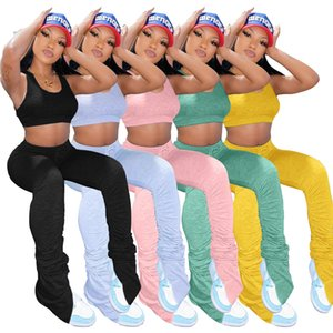 5 Colors Womens Tracksuit Two Pieces Set Solid Color Tight Vest Top Long Pants Suits Ladies Fashion Sexy Summer Outfits New 2021