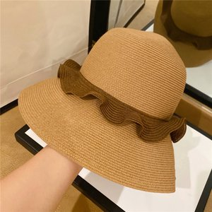 Wholesale big brim sun visor hat for sale - Group buy Summer Ladies Flounces Straw Hats Big Brim Fisherman Hats Beach Holiday Foldable Breathable Sun Visor Hats