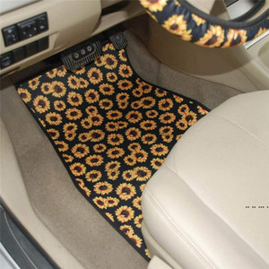 Wholesale floor mats cars resale online - 5pcs set Neoprene Car Floor Mats Steering Wheel Cover Set Design Car Foot Mat Skull Head Sunflower Tie dye Leopard Print FWF5292