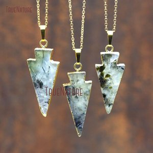Wholesale gold chain pendant design latest for sale - Group buy New Latest Design Healing Prehnites Pendant Necklace Gold Finished Adjustable Chains Arrowhead Charm Necklace inch NM8017