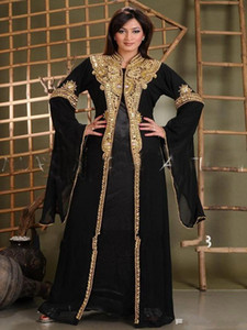 Wholesale arabic maternity clothes resale online - New Arabic Abaya in Dubai Islamic Clothing for Women With Gold Appliques Crystal Beaded Kaftan Muslim Evening Dresses Party Prom Gowns
