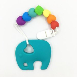 Wholesale teething necklaces resale online - Silicone baby Teething pendant clips necklace silicone Teething Pacifier Clip with large elephant pendant heart beads