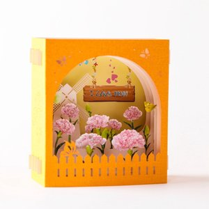 Wholesale pop up cards resale online - Mother s Day Greeting Card D Pop Up Hollow Paper Carving Carnation Flowers Mother s Day Teacher s Day Greeting Cards GWD5201