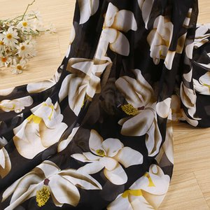 Wholesale flower printed chiffon fabric for sale - Group buy Summer new big flower Lily pattern printed D chiffon fashion mask fabric