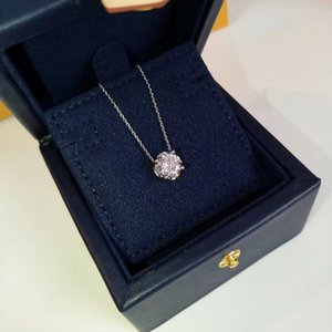 Wholesale s925 diamond pendant resale online - S925 silver pendant necklace with one piece sparkly diamond in platinum and rose gold color for women wedding jewelry gift PS8