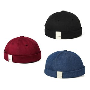 ingrosso berretto da marinaio per uomo-Cappello da Brembermaggio regolabile Cappello da Brimless Mens Vogue Retro Skull Cap Docker Sailor Cap Berretto Berretto Berretto Retro Sole Cappelli Vintage Unisex Harajuku