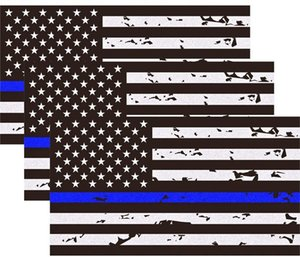 Wholesale blue line stickers for sale - Group buy Reflective New Tattered Thin Blue Line US Flag Decal Stickers quot x quot American USA Flag Decal Sticker Vinyl Window Bumper Tape