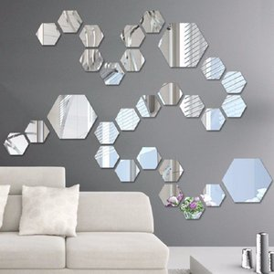 Wholesale chalkboard set for sale - Group buy 50pcs set D Mirror Wall Sticker Hexagon Vinyl Removable Wall Sticker Decal Home Decor Art DIY V2