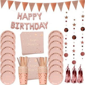 ingrosso ragazza di acquazzone nuziale-Rose Gold Party Eyrable Plate Plate Straws Girl Birthday Party Decor Adult Celebrazione Bambino Bridal Doccia Forniture
