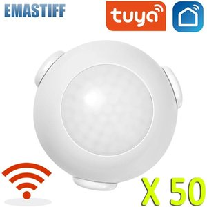 Wholesale mini pir motion sensor resale online - 50pcs Tuya Mini WIFI PIR Motion Sensor Human Body Sensor Wireless Infrared Detector built in battery Hole free installation