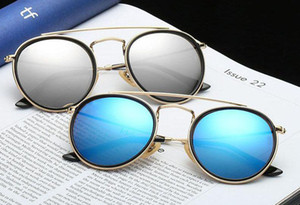 Wholesale double lenses resale online - High Quality Round Style Sunglasses Alloy PU frame Mirrored glass lens for Men women double Bridge Retro Eyewear with package