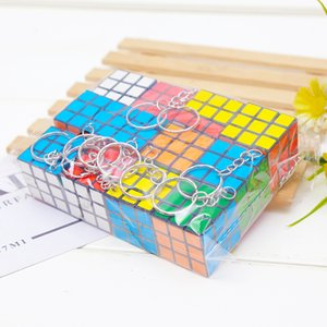 Wholesale cube decorations resale online - Magic Square Key Chain Small Decorations Cube Original Fashion Cute Pendant Adult Kids Buckle Rotatable Ring Present zf K2