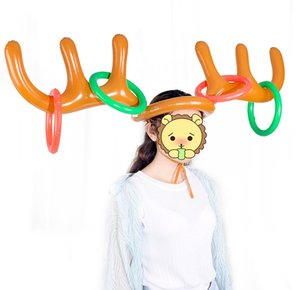 reno al aire libre al por mayor-1set inflable Santa Funny Reindeer Antller Hat Hat Toss Christmas Holiday Party Game Christmas Outdoor Inflado Juguetes Suministros OWA3723