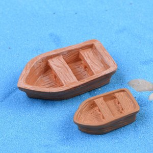 Wholesale plastic moss decor for sale - Group buy 2 set Mini Boat Figurines Miniature Resin Crafts Ornament Gnomes Moss Micro Landscape Cake Keys Plastic Crafts Home Decor C0220