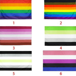 Wholesale pansexual flag for sale - Group buy lesbian gay bisexual Transgender Semi asexual pansexual Gay pride flag rainbow flag Lipstick lesbian flag styles WWA200