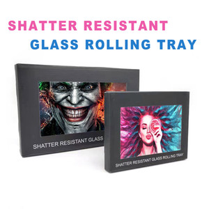 Wholesale rolling papers roll resale online - Shatter Resistant Glass Rolling Tray Tobacco Smoking With Independent Carton Packing patterens Two Size For Roll Paper Smoke Herb Grinder