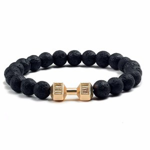 Wholesale dumbbell beads for sale - Group buy Accessories volcanic stone black matte dumbbell energy Yoga Beads creative bracelet