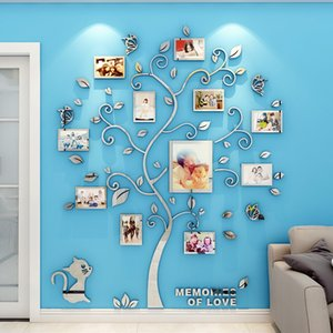 Wholesale diy mirror frame resale online - 3D Mirror Wall Stickers DIY Photo Frame Tree Acrylic Sticker Family Photo Tree Wall Stickers Art Home Decorative Wall Decals