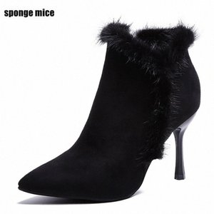 Wholesale fashion q resale online - Autumn Winter New Fashion Suede Pointed High Heeled Boots Side Zipper Color Matching Wedding Shoes Plus Velvet Womens Boots Q Monkey a90h