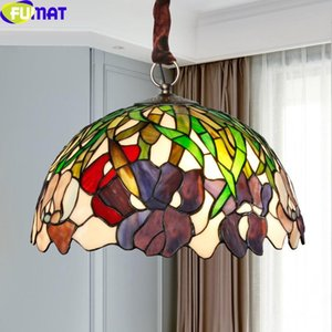 Wholesale dimming lights resale online - FUMAT Colorful Stained Glass Pendant Lamp Drop Lights Reverse Chandeliers Art Tiffany Style Antique Decor Dimming Remote Switch