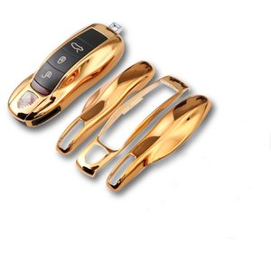 Wholesale car fob covers resale online - Mirror Gold Car Fob Remote Key Case Key Cover Key Shell Replace for Porsche Carrera Panamera Boxster Cayman Cayenne Macan