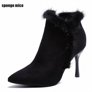 Wholesale fashion q resale online - Autumn Winter New Fashion Suede Pointed High Heeled Boots Side Zipper Color Matching Wedding Shoes Plus Velvet Womens Boots Q Monkey N7h4