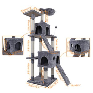 gradas de escalera al por mayor-2021 NUEVO NEURANTE DOMESAL OVIGENTE Árbol Gatito Tower Condominium Stand With Deluxe Natural Sisal Activity Cat Scratching Messes Sump Ladder