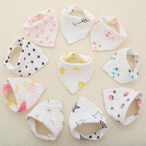 8 Layers Baby Newborn INS Print Bibs Infant Triangle Scarf Toddlers Muslin Cotton Bandana Burp Cloths 23 Colors