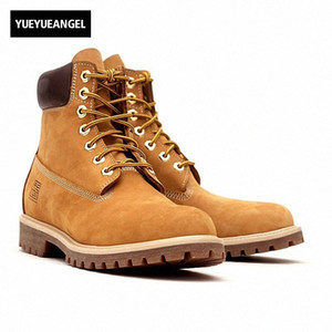 Wholesale leather motorcycle boots for men resale online - 2018 New Men Ankle Boots Anti Slip Lace Up Round Toe Autumn For Men Motorcycle Boots Genuine Leather Shoes Yellow Shoes For Women Dese H5KR