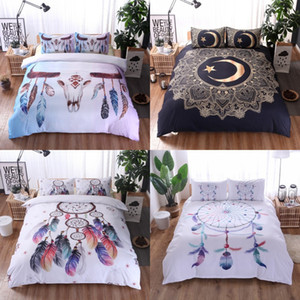 ingrosso copripiumino in piuma-Biancheria da letto bohémien Set Dream Piumes Stampa Bedclothes Double Queen King King Luxury Rovet Cover Duvet Set di federa k2