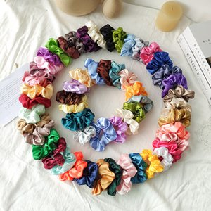 Wholesale hair extensions bands resale online - Satin Silk Bright Solid Color Scrunchies Elastic Hair Bands Ties Set Women Girls Ponytail Holder Colors Hair Rope Hair Accessories