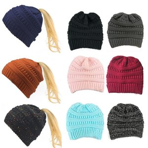 Wholesale yellow womens hats resale online - Dropshipping Horsetail hat Winter warm Female cap hat For Womens foldable Knitted casual Beanies Cap Thick outdoor