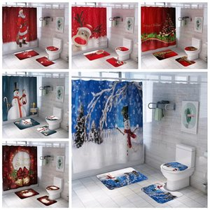 Wholesale bathroom curtains for sale - Group buy Christmas printed waterproof bathroom shower curtain carpet floor mat combination bathroom toilet seat shower curtain set WQ67