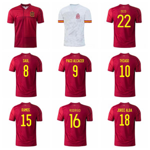 Wholesale spain national soccer team jersey for sale - Group buy Spain Soccer PACO ALCACER Jersey SERGIO RAMOS BUSQUETS NAVAS SAUL OYARZABAL Football Shirt Kits Uniform National Team