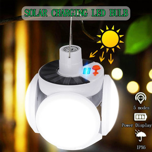Wholesale white hanging solar lanterns for sale - Group buy Edison2011 Solar Folding Bulb Camping Light LED Rechargeable Football Lamp Lanterns Emergency Lamp Outdoor Market Light Hanging Spotlight
