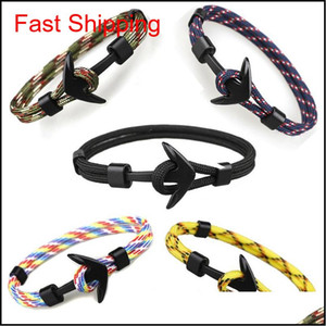 Wholesale pirate anchor for sale - Group buy Viking Jewelry Mens Black Alloy Pirate Nautical Navy Anchor Bracelets Rope Woven Bracelet For Women Men Fr qylyFH homes2007