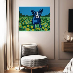 Wholesale canvas art moon for sale - Group buy Blue dog Stardust Acres No Moon Home Decor Handcrafts HD Print Oil Painting On Canvas Wall Art Canvas Picture