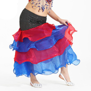 ingrosso mescolare gli stili gonne-Belly Dance Costume Deluxe Girls strati Mix Color Long Skirt Tight Hip Style Color