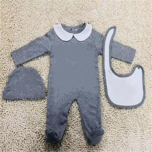 Wholesale chinese style baby clothes resale online - Newborn Baby Cotton Clothes Set Cute Infant Baby Boys Letter Romper Baby Girl Jumpsuit bibs Cap Outfits Set