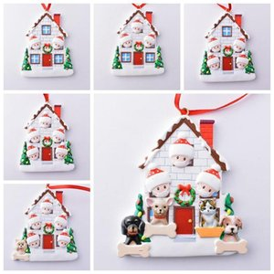 Wholesale personalize christmas ornament for sale - Group buy Christmas Ornament Quarantine Personalized Survivor Family Resin Decorations with Mask DIY Christmas Tree Hanging Pendant LLS383