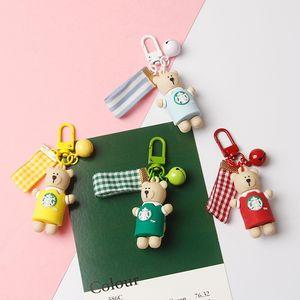 Newly Arrive Fashion Cute Pet Bear Starbucks Cartoon Cute Keychain Couple Key Ring Pendant gift poduct