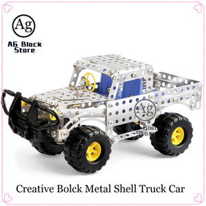 Wholesale toy bricks car resale online - Metal Shell Truck Compatible DIY Car Building Block Technic Educational Brick Construction Toy for Children Creative set X0127
