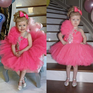 ingrosso cupcakes per i compleanni-Girls Pageant Abiti Bambino Bambini Cupcake Tulle Glitz Flower Girl Dress per matrimoni Beaded Birthday Party First Communication